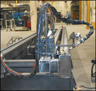 D/F Machine Specialties Robotic MIG Torch on Bug-O Modular Drive System